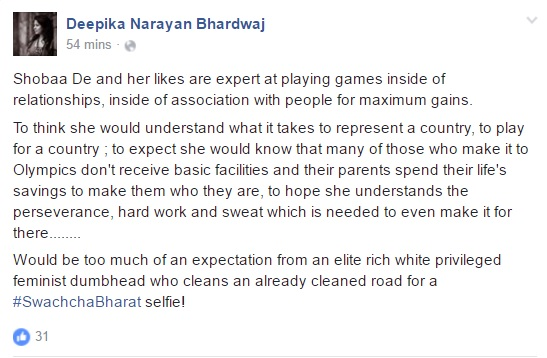 Deepika's take on Sobha De